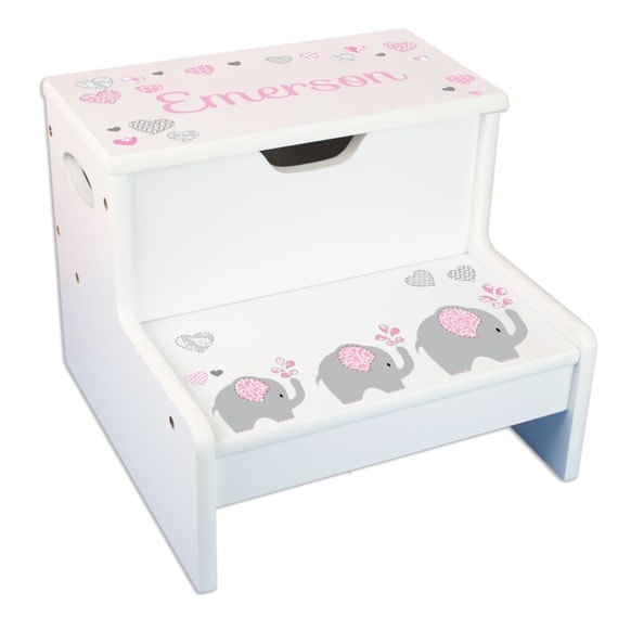 Personalized Elephant Step Stool Kid Sstool W Storage