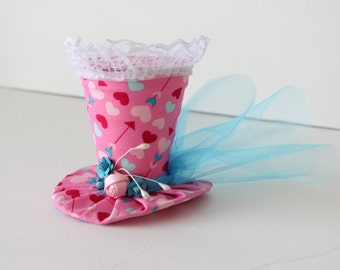 Pink and Blue Hearts Print Top Hat - Mini Top Hat - Mad Hatter Hat - Pink Tea Party Hat