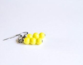 Triple Beaded Yellow Dangles