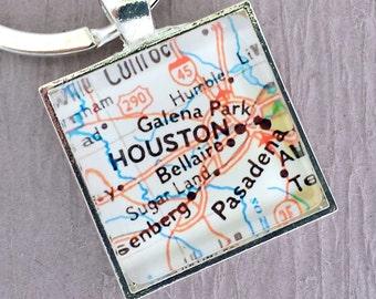 Houston Map Keychain, Houston Map Necklace, Houston Map Pendant, Houston Pendant, Travel Keepsake, Honeymoom Keepsake, Fathers Day