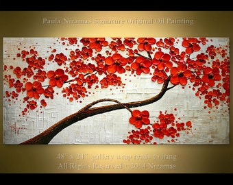 Oil painting on canvas Ready to hang ORIGINAL Abstract  Red Blooming Tree Heavy Palette Knife by Nizamas