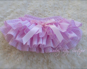 Beautiful Parley Ray Pink and White Gingham Ruffled Baby Bloomers / Diaper Cover / Photo Props