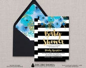 Black & White Baby Shower Invitation Blue Boho Flower Stripe Gold Glitter Painterly Watercolor FREE PRIORITY SHIPPING or DiY Printable- Mady