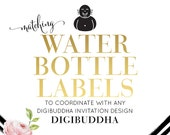 """DRINK LABELS Water Bottle Labels Made to Match any digibuddha Invitation Coordinating 8x2"""" Printable Stickers Bridal Baby Shower Wedding"""