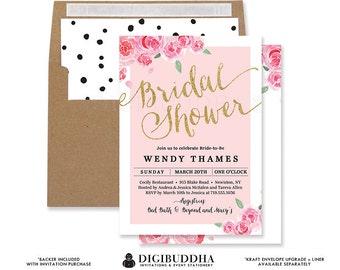 BLUSH PINK ROSES Bridal Shower Invitation Modern Blush Watercolor Rose Gold Glitter Whimsical Wedding Free Shipping or DiY Printable - Wendy