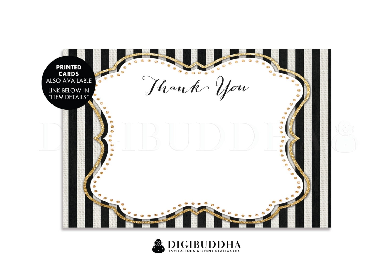 BLACK WHITE STRIPE Thank You Card Instant Download 4x6 Flat