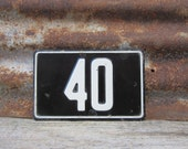 Vintage Number Sign # 40 Black & White Metal Sign Boat License Plate Small Metal 1960s 1970s Era # Sign Wall Decor vtg Digit Numeral Old
