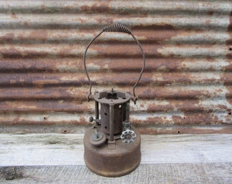 Large Antique Burner Late 1800s Era Industrial Rusted Metal Furnace Smelter Smudge Pot with Baled Handle Rustic Industrial Gas Lantern
