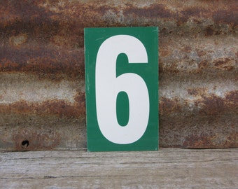 Number Sign Metal Vintage 5 or Number 6 Double Sided Small 7 1/4 x 4 1/4 Inches Five or Six White Green vtg Gas Price Sign Service Station
