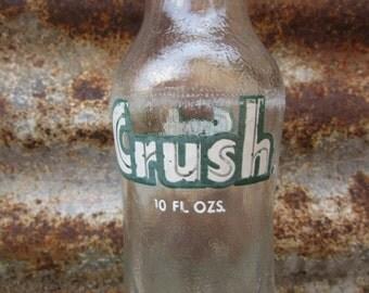 Vintage 1950s 1960s Era Glass Bottle Clear Glass CRUSH Evanston Illinois ILGreen Label  Retro Soda Glass or Vase Vintage Bottle