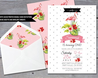"FLAMINGO Birthday Invitation - Birthday Party - 1st Birthday - Tropical -  Personalized - 7""x5"" - Print Your Own - DIY"