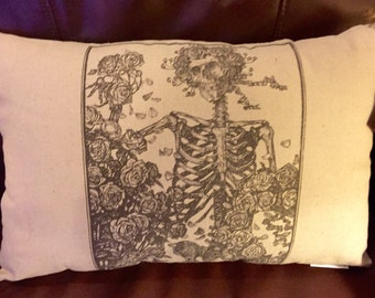 "Greatful Dead Inspired ""Skeleton With Roses"" Pillow"