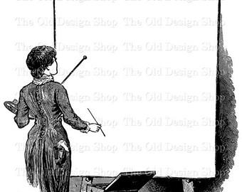 Artist at Work Blank Canvas Printable Vintage Clip Art Digital Download Transfer Image PNG JPG