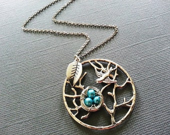 Tree of Life Necklace with Leaf and Aqua Blue Bird Nest