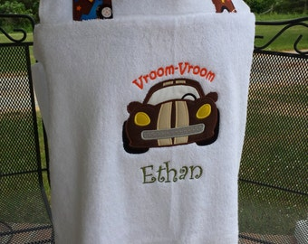 Racecar Hooded Bath Towel Wrap Beach Towel Wrap Toddler Baby Children Kids Personalized - FREE MONOGRAMMING