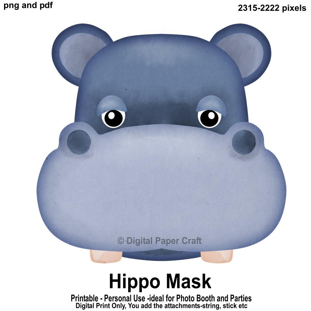 Hippopotamus Mask Hippo Mask Printable Mask Instant
