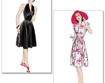 Butterick 5209 1940's Reissue Halter or Cap Sleeve Dress. NEW and UNCUT  only 5.99