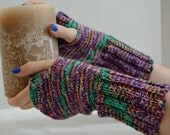Hand Knit, Bohemian Style, Fingerless Gloves, Fingerless Mittens, Arm Warmers, Knitted Mittens, Wool Gloves