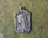Antique French Medal Saint Bernadette, Vintage Art Nouveau Religious Medal, Patron Saints Medal
