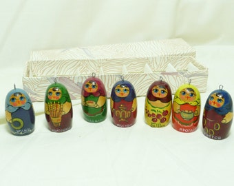 Vintage Russian Hand Painted Matreshka Doll Christmas Ornaments, set D