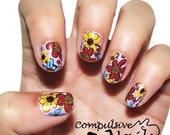 Silly spring nail wraps. Flower nail polish strips.