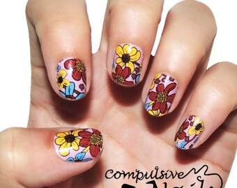 Silly spring nail wraps. Flower nail polish strips.