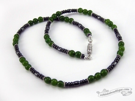 green jade mens necklace jade necklace by oohlalabeadtique