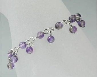 Amethyst charm beaded bracelet Bridesmaid gifts Free US Shipping handmade Anni designs