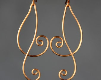 Copper Double Scroll Rococo linear long dangling earring handmade US freeshipping Anni Designs