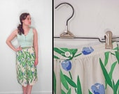 Blue TULIP Skirt 1970s // Copley Square Ltd XS Small // Green White Floral A Line