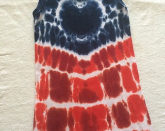 Girl's Small 4th of July Red White and Blue Tie Dye 2x1 Ribbed Tank Top
