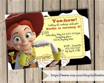 Toy story  birthday day party invitation, Jessie, cow girl, birthday, party, celebration, country, cow print, yee haw, toy story