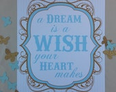 Cinderella Quote Party Decor Sign Dessert Table Decoration Disney Princess Inspired Blue Gold