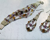 Modern  Boho Jewelry - Silver Beaded Amethyst & Topaz Jewelry Set.