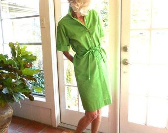 Vintage Casual Colony day dress spring green tie belt shirt dress short sleeve preppy retro resort: small