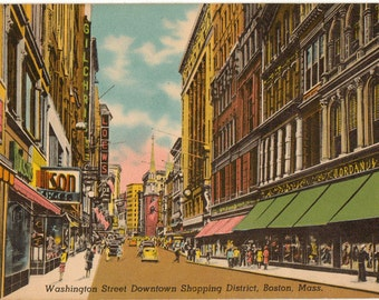Linen Postcard, Boston, Massachusetts, Washington Street, Shopping District, 1948