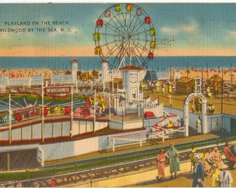 Linen Postcard, Wildwood By The Sea, New Jersey, Playland on the Beach, 1938