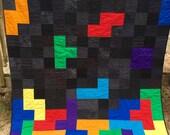 Tetris Blocks Handmade Video Game Quilt Twin Size