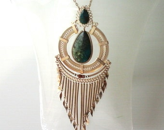 BLACK FRIDAY SALE long metal fringe ethnic necklace combined with a green gemstone pendand