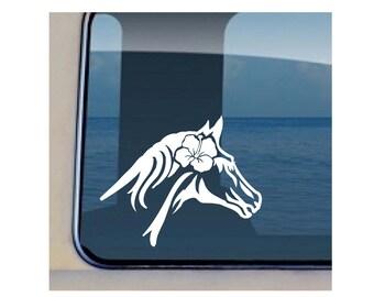 Horse Hibiscus Decal Hawaiian Pony Vinyl Sticker 246