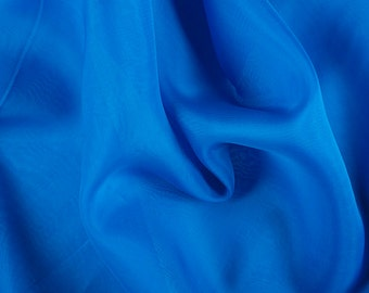 "45"" Wide 100% Silk Organza Sapphire Blue by the yard"
