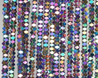 3x2mm Titanium Rainbow Hematite Gemstone Faceted Rectangle Loose Beads 15.5 inch Full Strand (90185551-837)