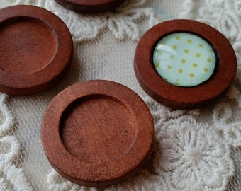 Fine Brown Wooden Photo Locket  (fit for 15 mm cabochons) / Wooden Ornament / DIY Ornaments / Wooden Base Setting DIY /  Wooden Tags (.gm)