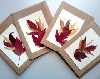 BLANK NOTE CARDS - Set of 4 Colorful Pressed Fall Leaves Ferns Small Rustic Note Cards, Paper Gift, Invitations, Announcement Card