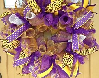 LSU Wreath~ LSU Deco Mesh Wreath~ Geaux Tigers Wreath~ Deco Mesh Wreath