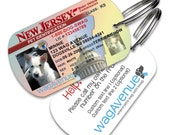 Custom Dog Tags - New Jersey Driver's License Pet Tag - Personalized Dog Tags for Pets, Dog License ID,  Dog Tags for Dogs, Dog License Tags