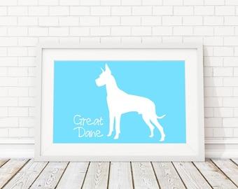 Great Dane Silhouette Modern Dog Print - Custom Wall Art, Personalized Dog Print, Modern Dog Home Decor, Dog Portrait, Dog Art, Dog Lovers