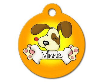 Cute Dog Tags - Orange Cute Puppy Licking a Bone - Personalized Pet Tags, Dog Tags for Dogs, Custom Pet Tags, Dog ID Tags, Cat ID Tag