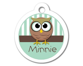 Cute Dog Tag - Whimsical Owl - Personalized Pet Tags, Custom Pet Tags, Dog ID Tags, Cat ID Tags, Dog Tags for Dogs, Designer Pet Tags