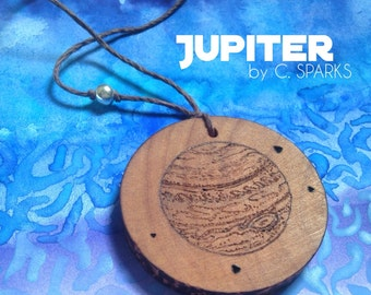 Large Jupiter Pendant with Natural Hemp Cord and Sterling Silver Bead - Planet - Wood - Solar System - Jupiter Necklace - STEAM - Fashion